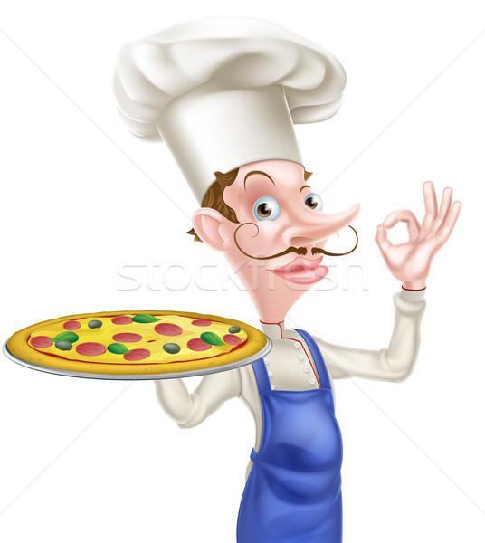 Pizza szakács tökéletes felirat illusztráció rajz Stock fotó © Krisdog