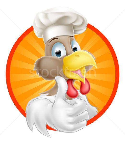 Tyúk szakács rajz kakas visel szakács sapka Stock fotó © Krisdog