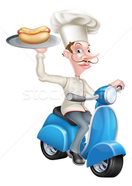 Chef on Scooter Moped Hot Dog Stock photo © Krisdog