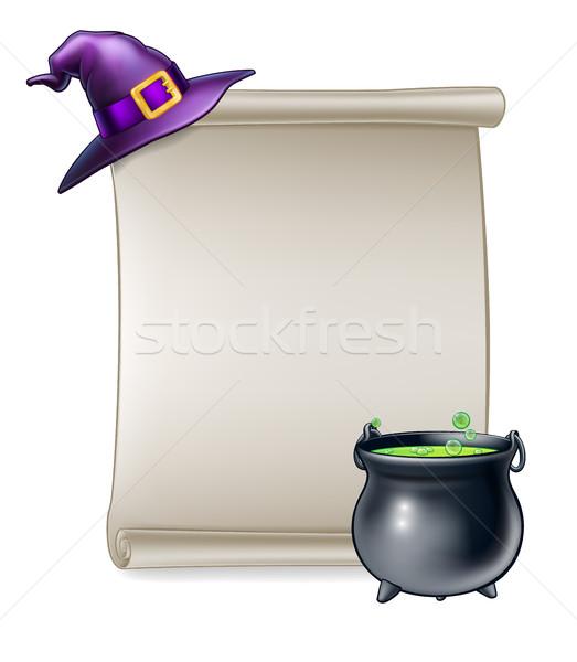 Halloween Cartoon Scroll Sign Stock photo © Krisdog