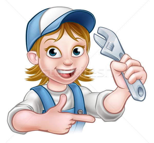 Stockfoto: Cartoon · monteur · loodgieter · vrouw · moersleutel