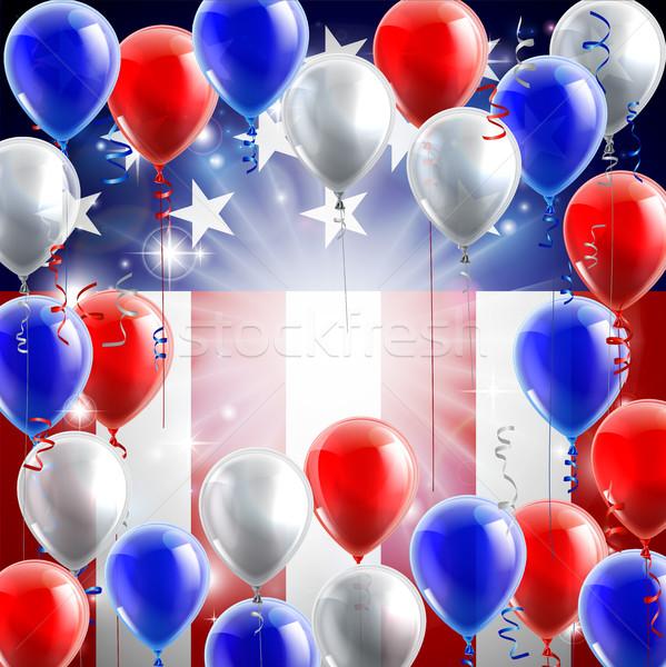 Сток-фото: американский · флаг · шаров · дизайна · патриотический · политический · красный