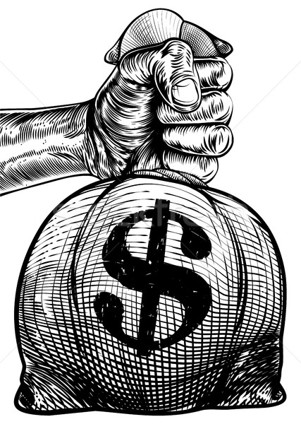 Hand dollarteken jute zak geld Stockfoto © Krisdog