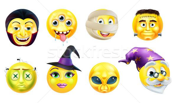 Halloween Emoticon Icon Set Stock photo © Krisdog