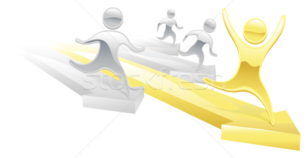 Metallic cartoon character race concept Stock photo © Krisdog