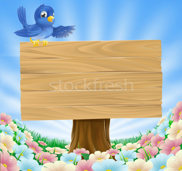 Blue bird wooden nature sign Stock photo © Krisdog