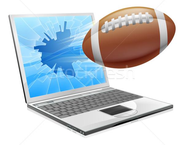 Voetbal laptop illustratie bal vliegen uit Stockfoto © Krisdog