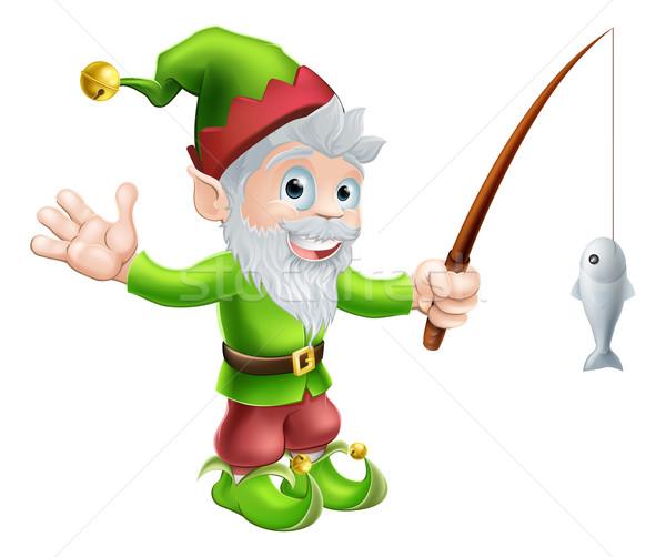 Jardin gnome canne à pêche illustration cute heureux Photo stock © Krisdog