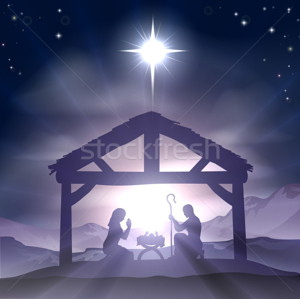 Stock photo: Christmas Manger Nativity Scene