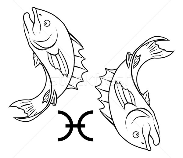 Zodíaco horóscopo astrologia assinar ilustração peixe Foto stock © Krisdog