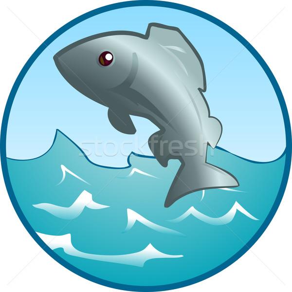 Springen vis illustratie uit water natuur Stockfoto © Krisdog