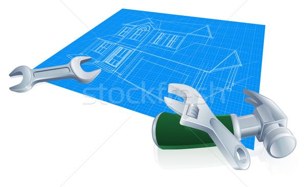 Maison plan construction nouvelle maison clé clé Photo stock © Krisdog