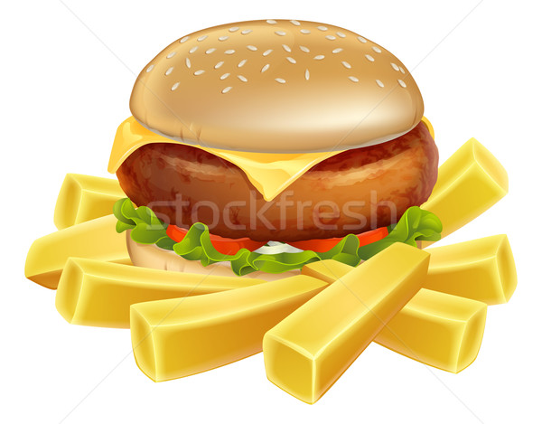 Burger and chips or french fries Stock photo © Krisdog