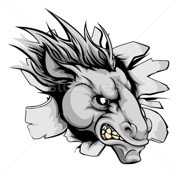 馬 マスコット 壁 見える 動物 金属 ストックフォト © Krisdog