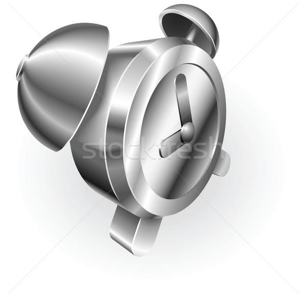 ストックフォト: 銀 · メタリック · 目覚まし時計 · 実例 · クロック · 広場