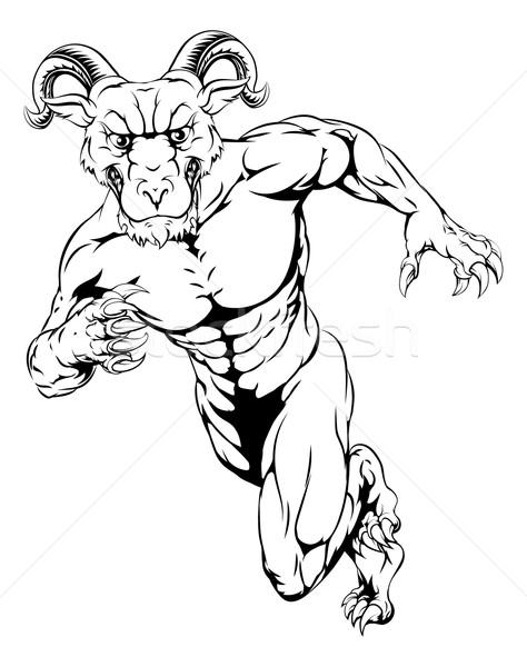 Widder Maskottchen Illustration scary Sport läuft Stock foto © Krisdog