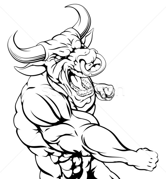 Tough bull character punching Stock photo © Krisdog