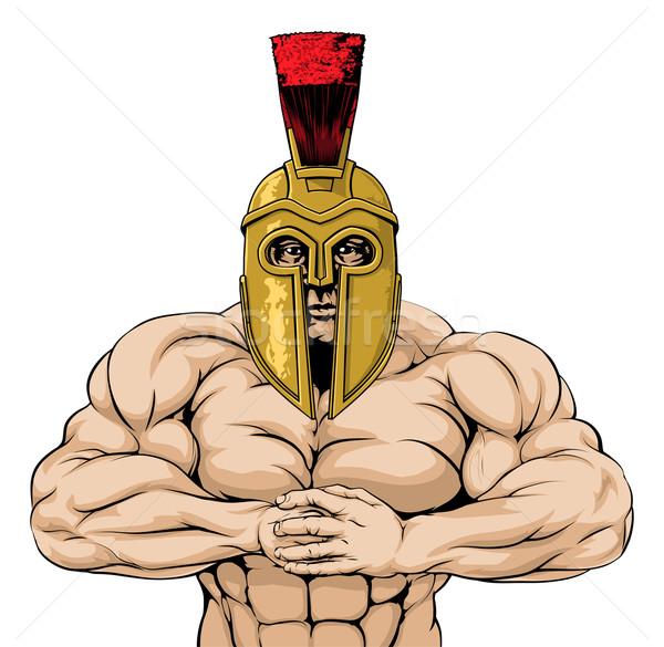 Forte espartano troiano mascote romano gladiador Foto stock © Krisdog