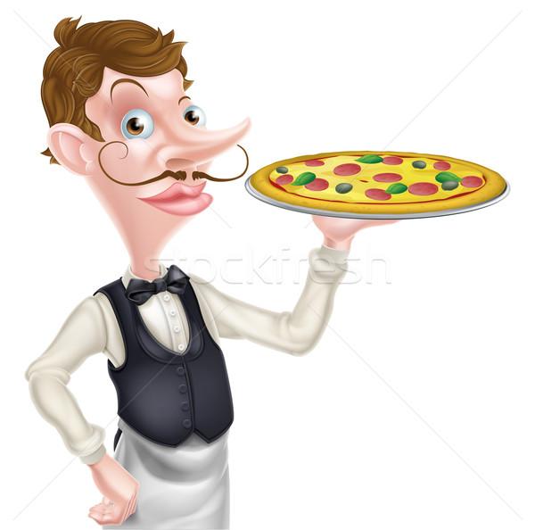 Pizza pincér illusztráció rajz tart étel Stock fotó © Krisdog