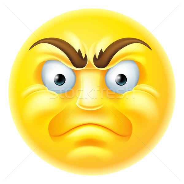 Angry Emoji Emoticon Cartoon Stock photo © Krisdog