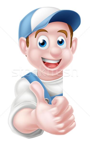 Cartoon Thumbs Up Worker Stock photo © Krisdog