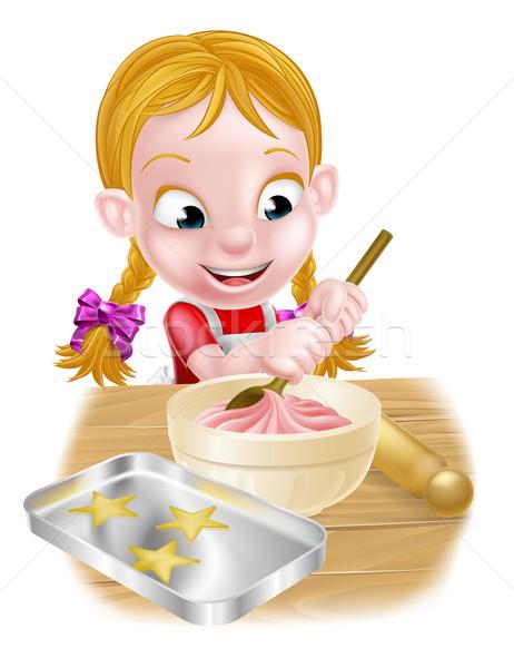 Stock fotó: Rajz · sütés · lány · főzés · szakács · konyha