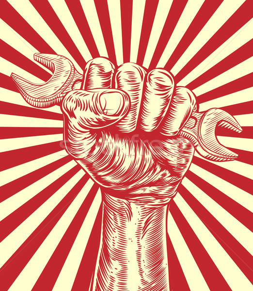 Propaganda Spanner Woodcut Fist Hand Stock photo © Krisdog