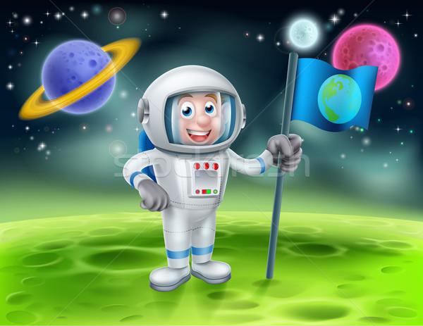 Stock photo: Cartoon Astronaut Alien Moon Scene