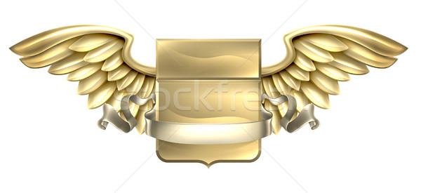Metal Winged Shield Scroll Design Stock photo © Krisdog