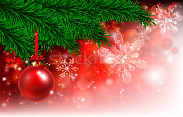 Karácsony piros fa csecsebecse karácsonyfa dekoráció Stock fotó © Krisdog