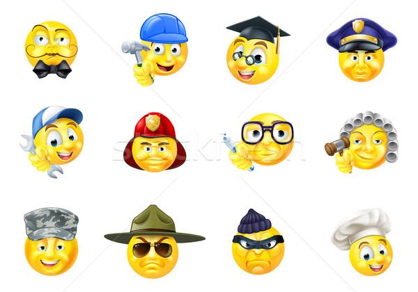 Jobs Occupations Work Emoji Emoticon Set Stock photo © Krisdog