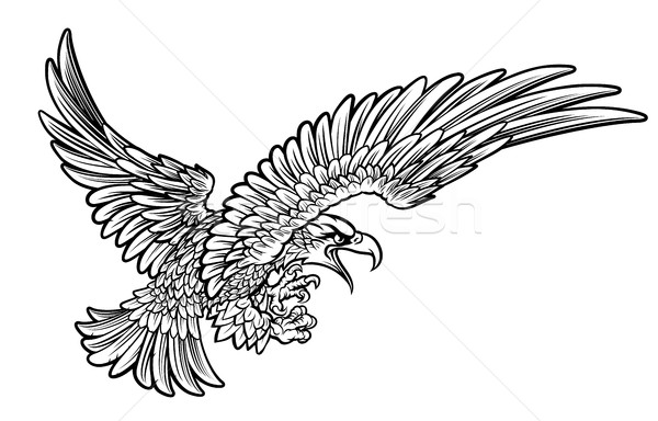 Eagle Swooping from the Side Stock photo © Krisdog