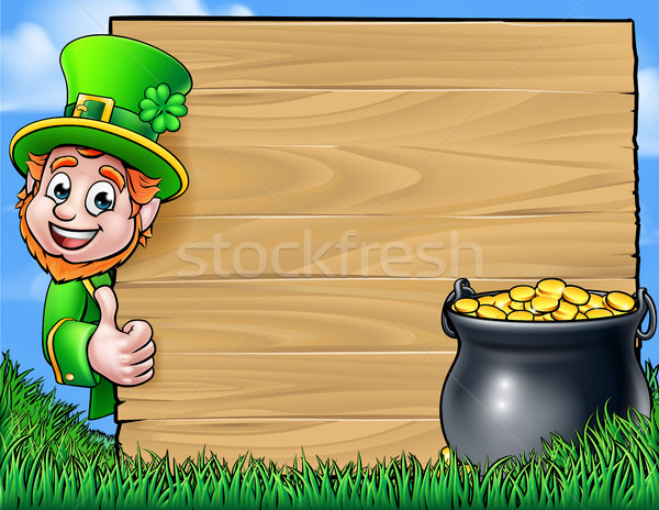 Cartoon Leprechaun St Patricks Day Background Sign Stock photo © Krisdog