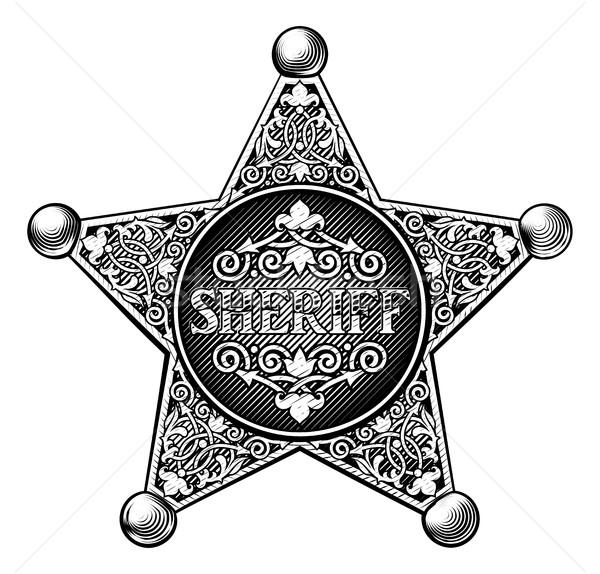 Sheriff kitűző klasszikus gravírozott stílus fém Stock fotó © Krisdog