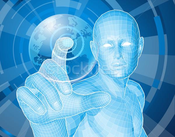 ストックフォト: 将来 · 男 · 世界中 · 企業 · スタイル · 未来的な