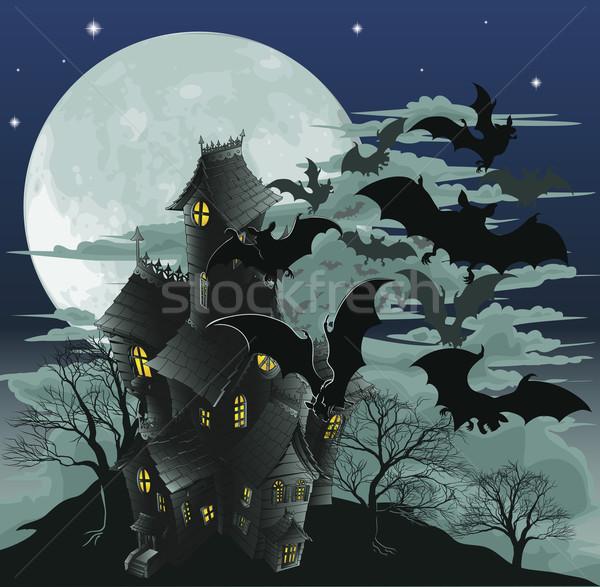 Kisértetjárta ház illusztráció halloween jelenet ijesztő Stock fotó © Krisdog
