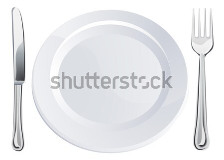 Empty plate and knife and fork cutlery Stock photo © Krisdog