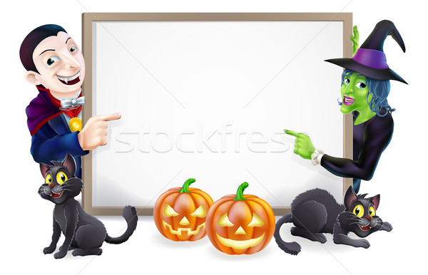Halloween Dracula and Witch Sign Stock photo © Krisdog