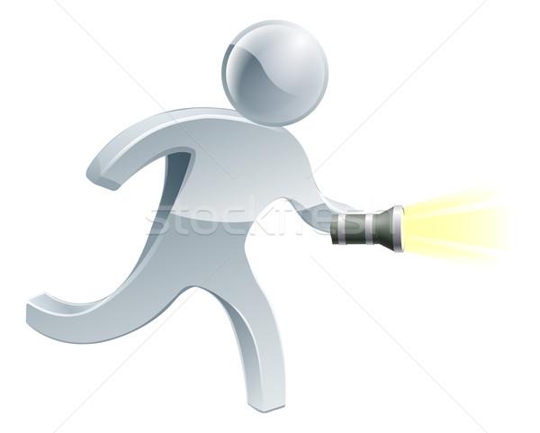 検索 懐中電灯 男 見える トーチ ストックフォト © Krisdog
