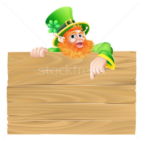 Cartoon Leprechaun Wooden Sign Stock photo © Krisdog