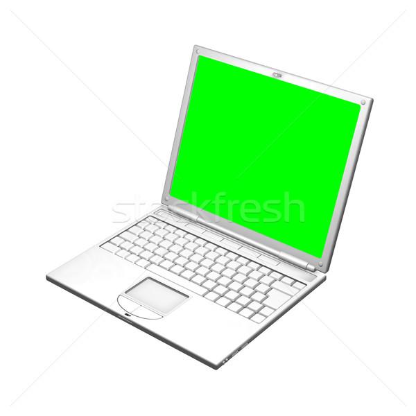 ストックフォト: 実例 · オープン · ラップトップコンピュータ · 画面 · ユニフォーム · 緑