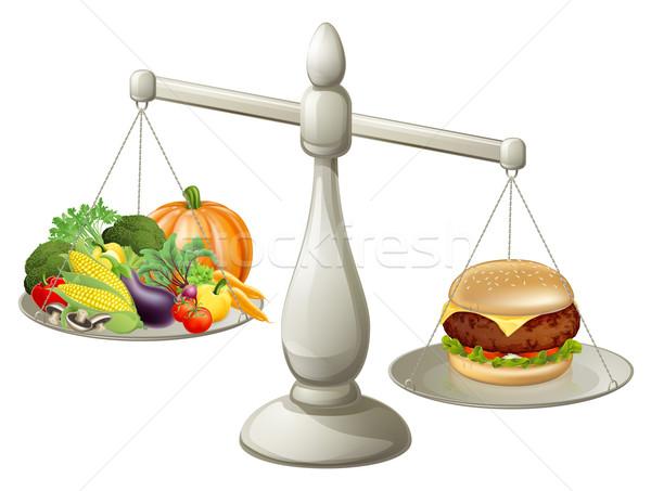 Egészséges étkezés erő egészséges étel egy oldal mérleg Stock fotó © Krisdog