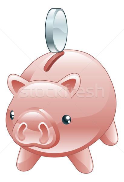 Savings Cute shiny piggy bank Stock photo © Krisdog