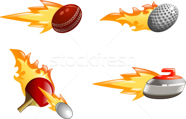 Glossy shiny flame sport icons Stock photo © Krisdog