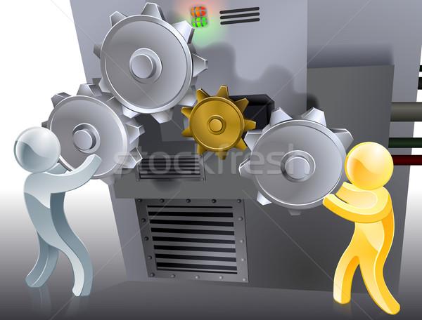 Beállítások kettő kabalák gép üzlet férfi Stock fotó © Krisdog
