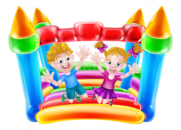 Kids Jumping on Bouncy Castle Stock photo © Krisdog