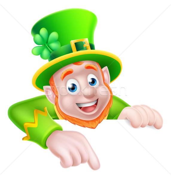 St Patricks Day Cartoon Leprechaun Pointing Stock photo © Krisdog