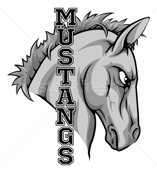 Mascota ilustración Cartoon caballo equipo deportivo texto Foto stock © Krisdog