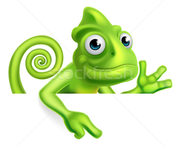 Cartoon kameleon wijzend groene hagedis karakter Stockfoto © Krisdog