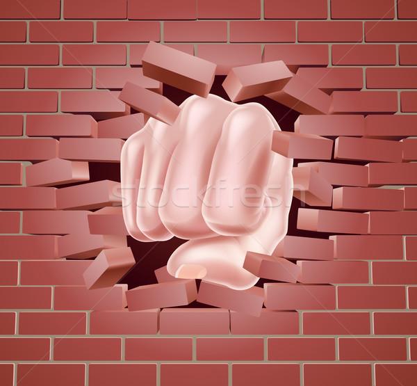 Stok fotoğraf: Yumruk · tuğla · duvar · adam · kırmızı · tuğla · güç